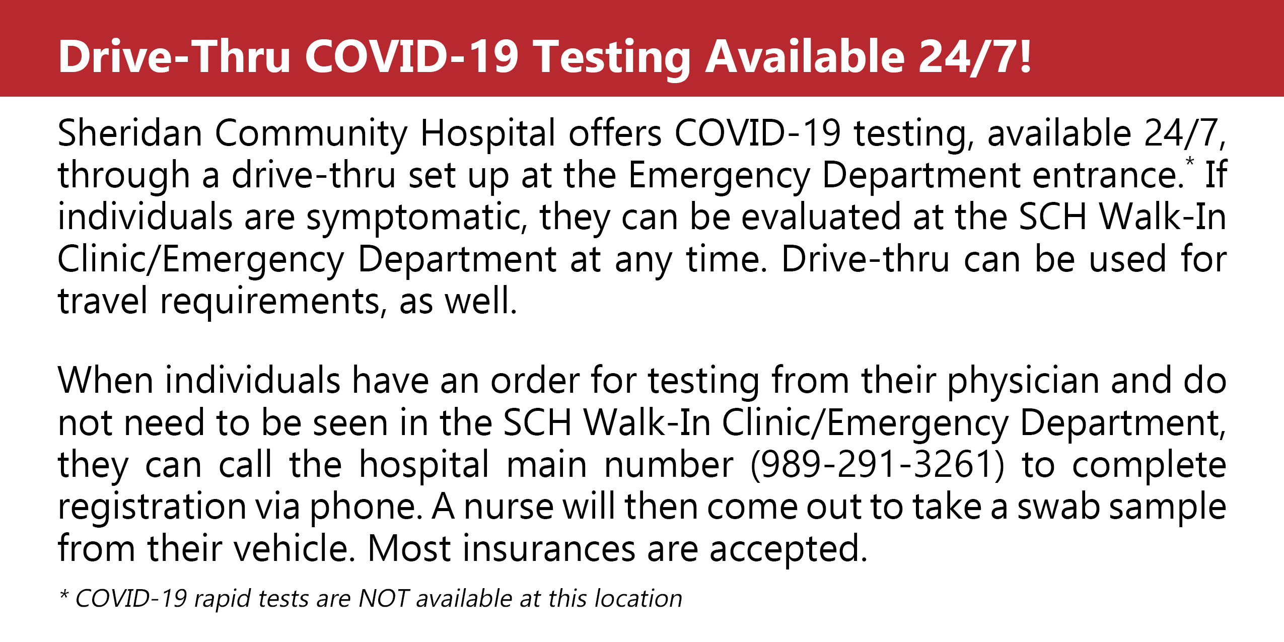 COVID-19 Testing Available 24/7
